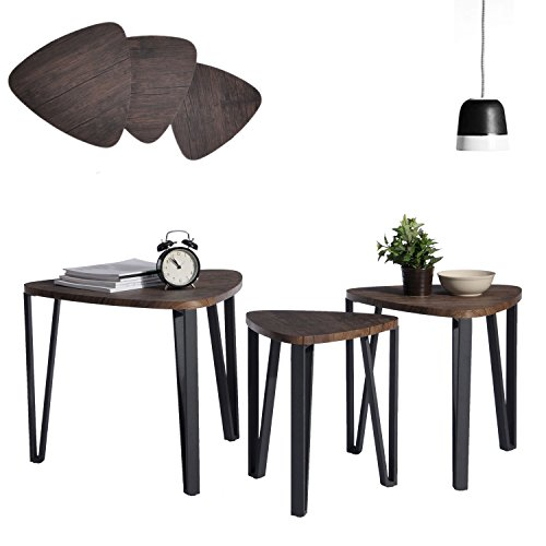 - Coffee Table Set of 3 Industrial End Side Table Night Stand Table Nesting Corner Table Stacking Tea Table Espresso Modern Leisure Wood Table With Metal Tube For Living/Waiting Room Balcony and Office
