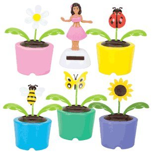 Spring Solar 6 Pack - 1 Each Ladybug, Sunflower, Daisy, Butterfly, Bumble Bee & Hula Girl