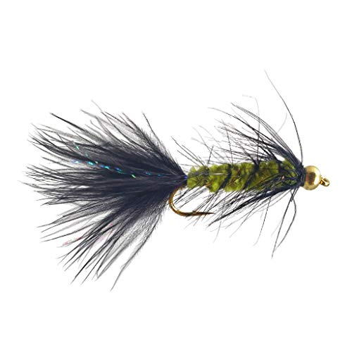 The Fly Crate Bead Head Woolly Bugger Fly Fishing Assortment for Trout Bass Panfish (Olive Black, Size #12 | 6 Pack)