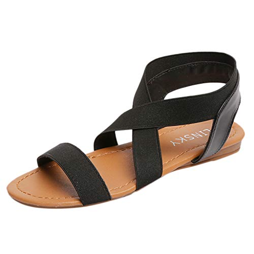 TnaIolral Women Sandals Low Heel Anti Skidding Beach Strap Peep-Toe Shoes