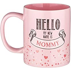 """12-ounce New Mother Mug - """"Hello My NEW Name is Mommy"""" - Pink Ceramic with Gift Box"""