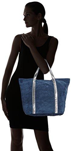 da Mano a scamosciata Borsa made Donna in Cm Italy 43x34x18 in pelle vera CTM Blu Jeans morbida qtg1w4w