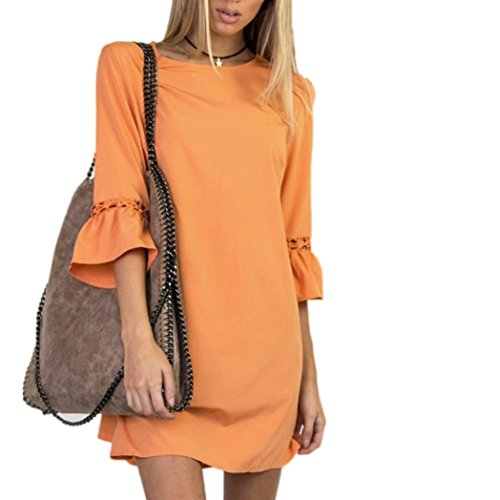 Lightning Deals Loose Dress,ZYooh Women Fashion Hollow Out Ruffled Sleeve Evening Party Mini Dress (Orange, - Orange Block Of Hours