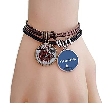 Graffiti Street Culture Bloody Skeleton Motor Friendship Bracelet Leather Rope Wristband Couple Set Estimated Price -
