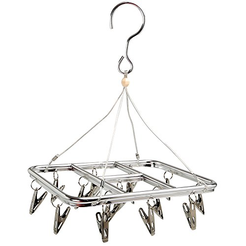 AJ Clip and Drip Hanger Clothes Drying Hanger Rack with 15 Clips, 28x23x42cm,190g,cc8132