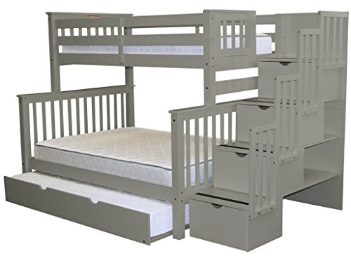 (Bedz King Stairway Bunk Beds Twin over Full with 4 Drawers in the Steps and a Full Trundle,)