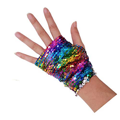 Time-killer Sequins Gloves - Magic Sequin Fingerless Mermaid Gloves Dragon Paws Reversible Bracelet- Dance Birthday Party Favors for Kids Girls Women (Rainbow)