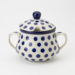 Polish Pottery Sugar Bowl – Small Blue Dot