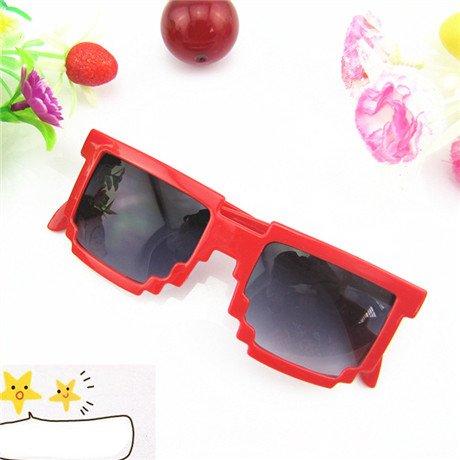 gafas gafas unisex de Red gafas gafas mosaico sol de bebé Cuadrado sol sol Borgoña pixel de moda novedad de GGSSYY a4qwYPzx