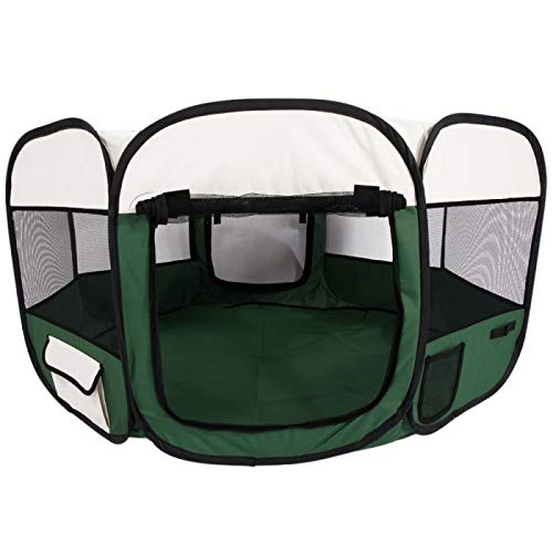 CARBE kennelDog Kennel Pet Fence Puppy Dog Playpen Portable Foldable Oxford Cloth & Mesh Pet Playpen Fence With