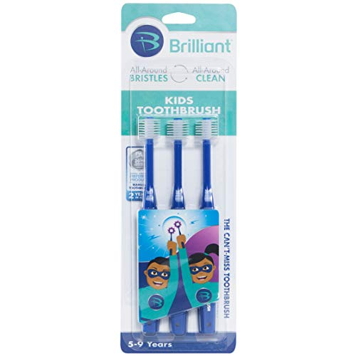 Brilliant Kids Toothbrush Ages 5-9 Years - When Adult Teeth Appear - BPA Free Super-Fine Micro Bristles Clean All-Around Mouth, Kids Love Them, Royal, 3 Count