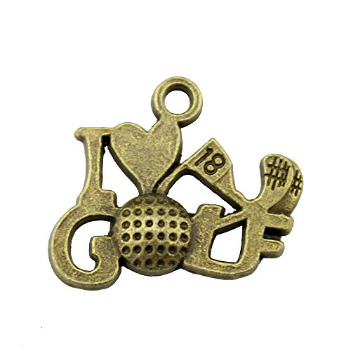 NEWME 25pcs I love golf Charms Pendant For DIY Jewelry Wholesale Crafting Bracelet and Necklace Making (antique bronze)