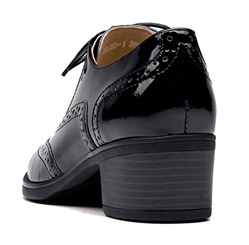 Heel up Vintage Womens Oxford Black Perforated Wingtip Mid Oxfords Lace lite U Flat Shoes 1 Leather Close Front t6YOwxa