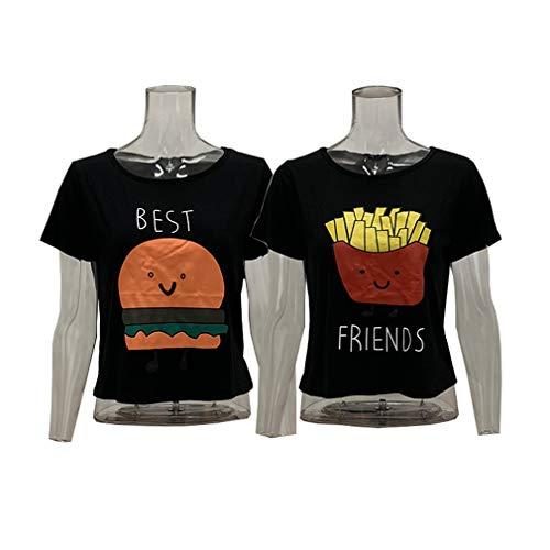 MOLFROA 2-Pack Women's Casual Cute Cartoon Best Friend Printed Crop Tops Funny Tops Tees (Best (M)+Friend (M), Black)