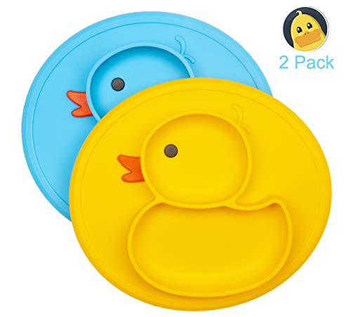 Silicone Divided Toddler Plates - Portable Non Slip Suction Plates for Children Babies and Kids BPA Free FDA Approved Baby Dinner ()
