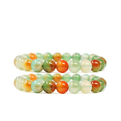 Crystal Color Agate Multi - Genuine Multi Color Agate Crystal Beaded Bracelets Small Set Natural Gemstone Precious Stone Stretch Yoga Chakra Balance Energy Bracelet Healing for women girls Stress Anxiety Relief, red and Green