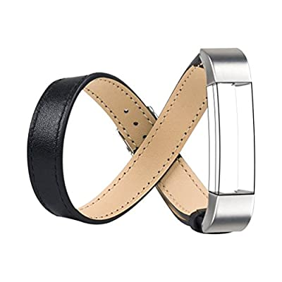 For Lux Fitbit Alta Bands, Wearlizer Genuine Leather Double Tour Smart Watch Replacement Strap Wristband w/ Metal Buckle for Fitbit Alta