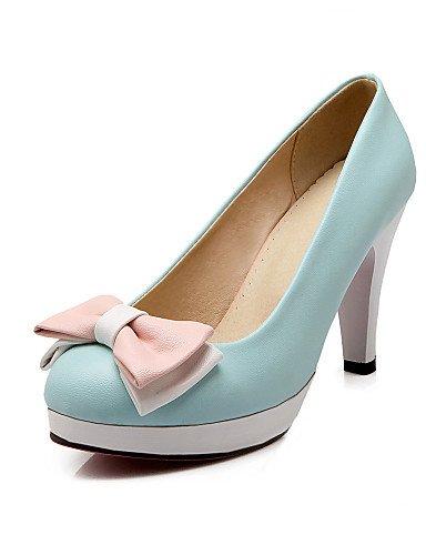 GGX/Damen Schuhe PU Sommer-/, Round Toe Heels Büro & Karriere/Casual Stiletto-Absatz Schleife Blau/Rosa/Weiß/Beige blue-us10.5 / eu42 / uk8.5 / cn43