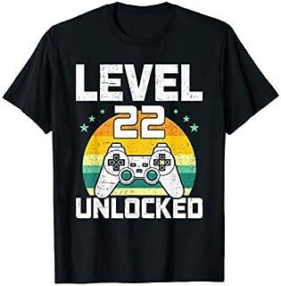 Level 22 Unlocked Video Gamer Gaming 22th Birthday Gift T-shirt   Size S - 5XL