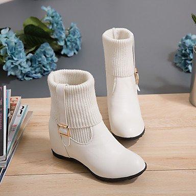 Black El Zapatos Botas Invierno Forro amp;m Otoño Heart Redondo De Tobillo Hasta Punto Botines Dedo Mujer Pelusa Combate qEWpw1T8