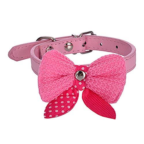 (guohanfsh Fashion Dog Cat Collar Neck Strap Lovely Faux Leather Polka Dot Bowknot Puppy Pet (1Pcs) Pink)