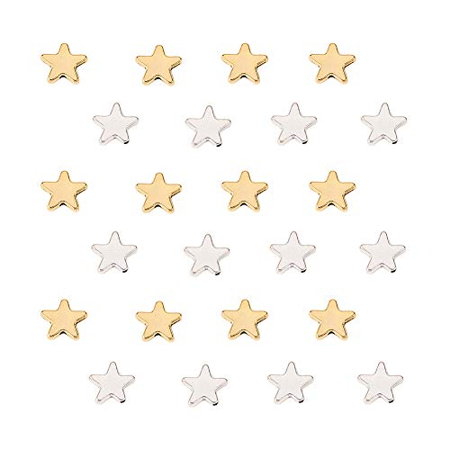 PH PandaHall 120pcs Antique Golden & Antique Silver Tibetan Alloy Little Twinkle Star Spacer Beads Connector for Bracelet Necklace Jewelry Making