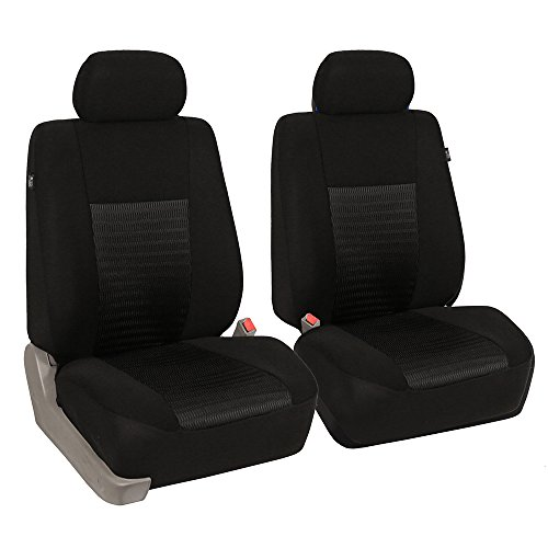 (FH GROUP FH-FB060102 Trendy Elegance Pair Bucket Seat Covers, (Airbag compatible) Solid Black Color-Fit Most Car, Truck, Suv, or Van)