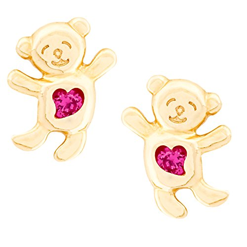 14K Yellow Gold Teddy Bear Stud Kids Earrings With Safety Screw Backs (Teddy Bear Yellow Ring)