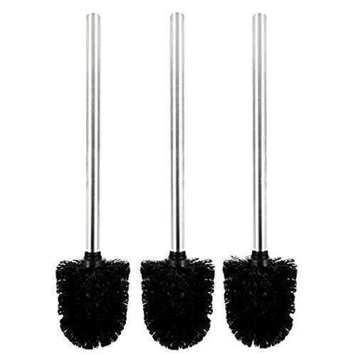 PIXNOR 3pcs Plastic Toilet Brushes with Stainless Steel Hand