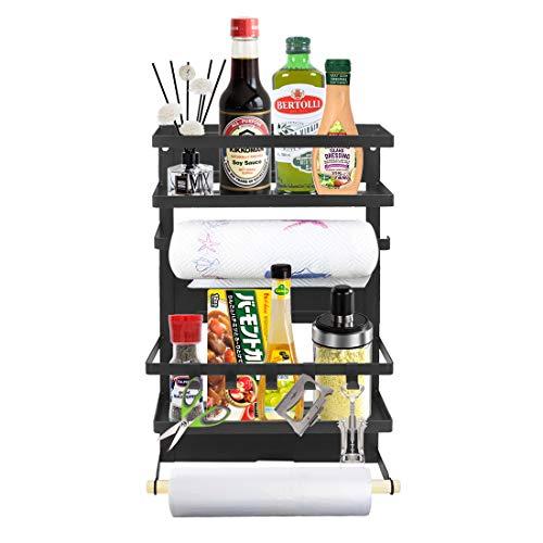 Magnetic Kitchen Rack Fridge Organizer, Spice Jars Rack, Multi Use Refrigerator Side Storage Shelf with 5 Removable Mobile Hooks,Large,Black ()