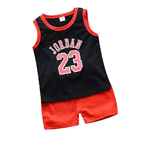 Youmymine Toddler Baby Boy Sleeveless T-Shirt Basketball Jordan Vest Tops Shorts Pants Outfits Clothes Sets (18-24Months, Black)