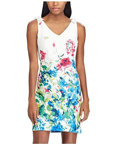 - Chaps Women V- Neck Floral Jacquard Shift Dress, White Multi, Size 12