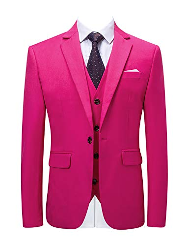 MOGU Mens Pink Suits Slim Fit 3 Piece US Size 38 (Asian 3XL) Pink