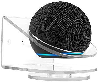 2 in 1 Wall Mount Holder Desktop Stand for Echo Dot 4th Generation,Transparent Acrylic Speaker Wall Shelf Holder Space Saving Bracket for Echo Dot 4 Speaker