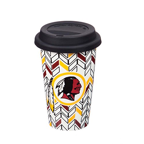 "Team Sports America Washington Redskins NFL Just Add Color Double-Wall Chevron Ceramic Travel Coffee and Tea Cup with Silicone Lid – 4""W x 6""H"