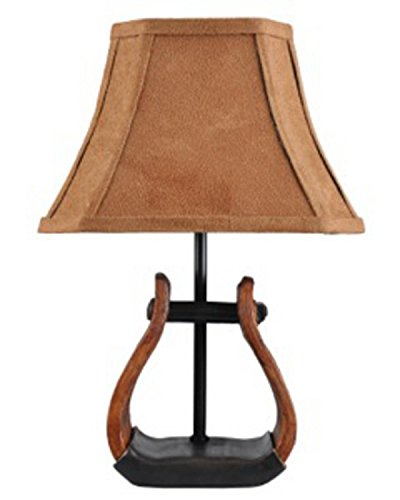 Diva At Home Set of 2 Country Western Cowboy Stirrup Accent Lamps with Faux Suede Shades 11