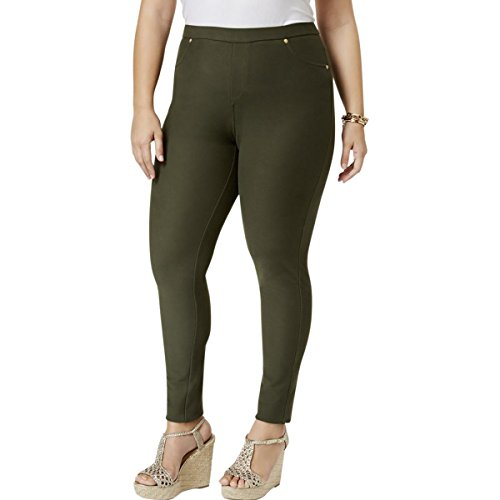 Plus Michael Kors Jeans Size (MICHAEL Michael Kors Womens Plus Knit Textured Leggings Green 1X)