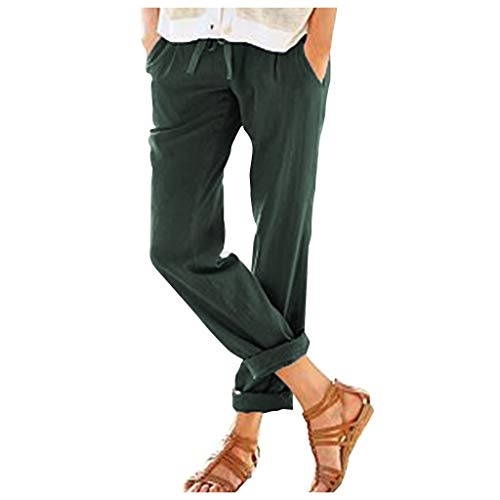 - ♞Deadness-Womens Women's Tapered Pants 100% Linen Drawstring Back Elastic Waist Pants Loose Trousers with Pockets Green