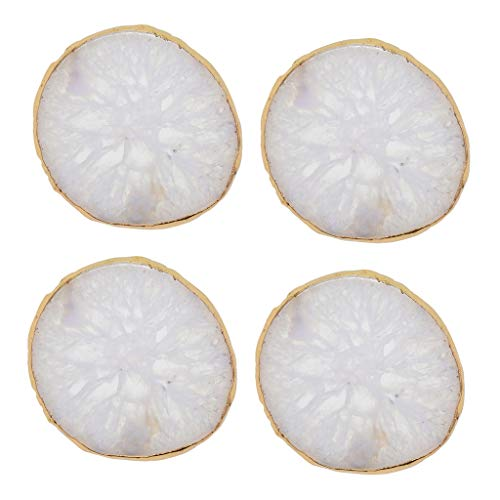 (Prettyia 4 Pieces Undyed Real Agate 60-80mm Quartz Crystal Slice Coaster for Jewelry Making DIY Crafts White)