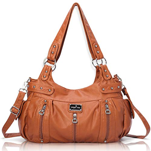 - Handbag Hobo Women Handbag Roomy Multiple Pockets Street ladies' Shoulder Bag Fashion PU Tote Satchel Bag for Women (AK19244#-74#Brown)