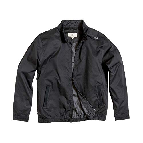 Zak Mens Lightweight & Casual Iconic Racer Jacket for Spring - Fall Coat (Black, ()