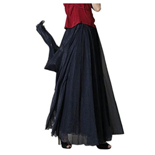 Inkach Chiffon Long Skirt, Fashion Women Elastic Waist Maxi Beach Dress