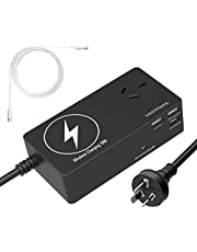 VASTFAFA Surge Protector Solid Power Strip with Quick Charge USB Ports,(6 in 1 Multi Plug Extender+Wireless Charging Station,Black)