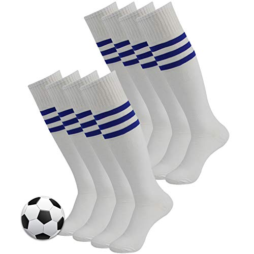 Football Team Socks, 3street Mens Boys Comfortable Warm Long Striped Athletic Soccer Softball Training Tube Socks for Christmas Party Gift White 8 Pairs