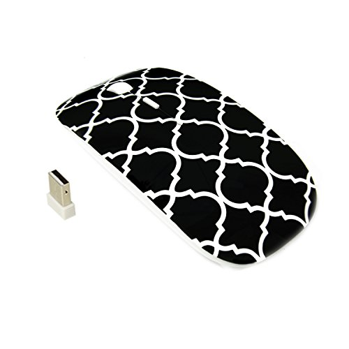TopCase Quatrefoil/Moroccan Trellis Series Black USB Optical Wireless Mouse for MacBook (pro, air) and All Laptop + TopCase Designed Chevron Mouse Pad