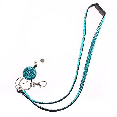 Fashion Glitter Retractable Turquoise Bling Crystal Lanyard Cute Rhinestone Badge Holder With Necklace + Badge Reel+Breakaway Safety Clasp For Girl,Woman,Lady (Reel Badge Jeweled)