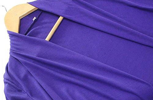 sunifsnow mujeres Slim largo Trench algodón de punto de punto abierto Cardigan Outwear morado