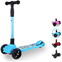 New Olym Scooter for Kids, Toddlers Big Flashing Wheels Kick Scooter for Little Girls&Boys- 4 Adjustable Handle Bars Lean to Steer Foldable Scooters Perfect to Children Ages 3-17 yrs Blue