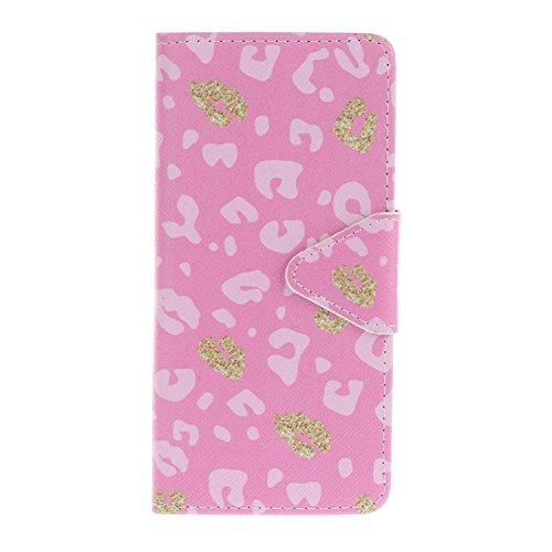 Caja de Teléfono para Sony Xperia E5 Funda LuckyW Casa Flip Folio Funda Bookstyle Funda Flexible Ligera Duradera con Función de Soporte Ranuras de Tarjeta Soporte de Identificación Cierre Magnético PU Leopardo rosa