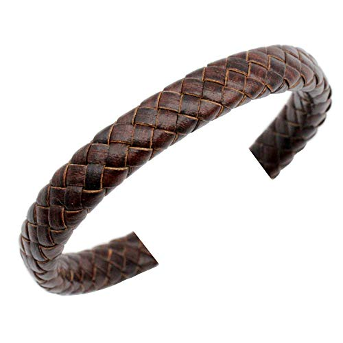 1 Yard 10mm Braided Leather Strap Licorice Leather Cord 10mmx5.5mm Distressed Brown